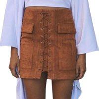 ingrosso black spandex pencil skirt-Minigonna in pelle con lacci invernali 90's Vintage High Waist Preppy Pocket Nero Rosa Matita Bodycon Bandage Gonne Donna