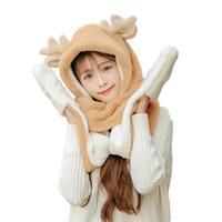 ingrosso guanti di natale sciarpe-Sciarpa addensata Set 3 pezzi Set 3-in-1 sciarpa cappello guanti inverno caldo carino Natale Antler doppio strato donne