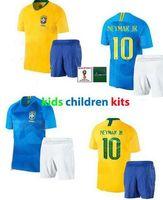 jerseys para niños baratos al por mayor-Maillot de foot Enfant niños Copa del mundo 2018 con pantalones cortos baratos Bresil Camiseta niños kit de fútbol ronaldinho Brezil Soccer Jersey
