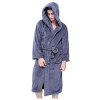 xxl größe kleid winter großhandel-Plus Größe XXL Roben mit Kapuze Bademäntel für Männer Winter Warm halten langärmelige exquisite Plüsch Herren Bademantel Roben
