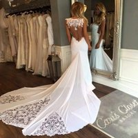 Wholesale sweetheart trumpet chiffon wedding dress for sale - 2019 New Sleeveless Mermaid Sheath Formal Wedding Dresses Backless Applique Lace Backless Bridal Gowns Custom Size