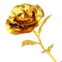 ev için dekoratif bitkiler toptan satış-Decorativ Sıcak Satış Doğum Günü Düğün Için 24 k Altın Sahte Çiçekler Bitkiler Ev Dekoratif Çiçekler Yapay sevgililer Günü Malzemeleri