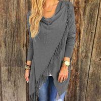 Wholesale Hem Blouse - Blusas Hot 2018 Autumn Fashion Women Blouses Tassels Irregular Hem Long Sleeve Knitted Cardigan Casual Plus Size Tops
