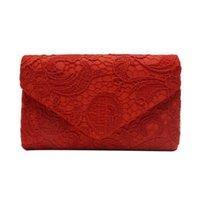 geschnürte kupplung großhandel-Sleeper # 4001 Damen Elegante Blumenspitze Umschlag Clutch Abend Prom Handtasche