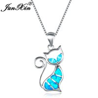 Wholesale Fire Opal Necklace Sterling - JUNXIN 2018 New Brand Design Women Cat Necklace Blue Fire Opal Necklaces & Pendants Fashion 925 Sterling Silver Animal Jewelry