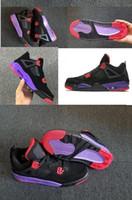 erkekler ateş ediyor toptan satış-Çocuklar Büyük boy ayakkabı 4 4 s Basketbol Ayakkabı erkekler Saf Para Royalty Beyaz Çimento Raptors Siyah kedi Getirdi Ateş Kadın erkek eğitmenler Spor Sneakers