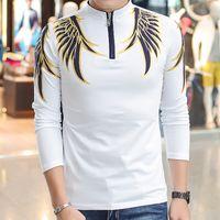 ince uyan uzun kollu polo toptan satış-Moda Erkekler Polo Gömlek Pamuk Slim Fit Camisa Polo Baskı Casual Gömlek Uzun Kollu Camisetas Marka Giyim Toptan