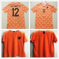 jerseys europeos de fútbol al por mayor-1988 Copa de Europa Classic Vintage Holanda Home Soccer Jersey 12 VAN BASTEN 10 Gullit 8 Bergkamp Seedorf 2018 2019 Holanda Camiseta de fútbol