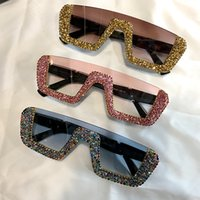monturas de gafas femeninas al por mayor-Gafas de sol de lujo cuadradas de las mujeres diseñador de la marca de gran tamaño rhinestone gafas de sol hombres gafas de medio marco para mujer UV400