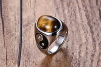 anillo de ojo de tigre al por mayor-Anillo de titanio chapado en plata 925K de hombres Anillo de dedos de acero inoxidable con anillo de piedra Tiger Eye Band