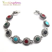 Wholesale young women jewelry - Wholesale- Yunkingdom Bohemian Ethnic Fashion Bracelet Stones Antique Gold Color Jewelry Young Women Lady Holiday Gifts YUN0614