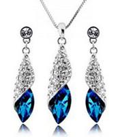 collar de boda swarovski conjunto al por mayor-Collar de cristal de diamantes de Austria para mujer pendientes Set Classic Swarovski Elements 7 colores de fiesta de bodas opcional