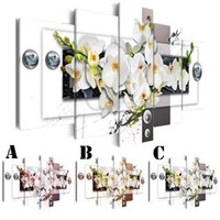 Wholesale orchid flower oil painting - Wall Art Picture Printed Oil Painting on Canvas No Frame 5pcs set Home Decor Extra Mirror Border Orchids Flower and Screw