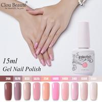 esmalte de unhas branco venda por atacado-Clou Beaute 10 pcs Gel Laca Conjunto UV Gel Unha Polonês Semi Permanente LEVOU Verniz Pintura Unhas Soak Off Rosa Branco híbrido