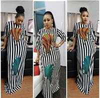 güzel kıyafetler toptan satış-2018 Moda Kadınlar Siyah ve beyaz çizgili maxi elbise Tasarım Geleneksel Afrika Giyim Baskı Dashiki Kadınlar için Güzel Boyun Afrika Elbiseler