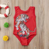 vestido de baño de las niñas al por mayor-Summer Kids Baby Girls Tiger Red Swimwear traje de baño de una sola pieza Animal traje de baño vestido de baño Ropa de playa