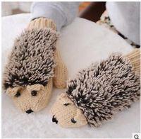 черные перчатки из меха кролика оптовых-Мультфильм Ежик перчатки милые мыши зимние перчатки женские милые мыши зимние варежки много цветов