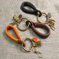 Wholesale vintage leather key ring for sale - Group buy Forest Series Retro Keychain Vintage Genuine Leather Key Ring Personalize Key Chain Lanyard Handmade Creative Keyring Grocery Free DHL H31F