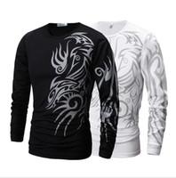 Wholesale long sleeve tattoo tops - men long sleeve T shirt Dragon Tattoo Printing Round Neck T-shirt Slim Fit Leisure Top for Men shirt KKA4228