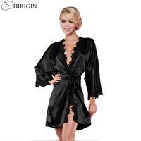 11f9e4a85b HIRIGIN Ladies Sexy Silk Satin Night Dress Sleeveless Nighties V-neck  Nightgown Nightdress Lace Sleepwear Nightwear For Women