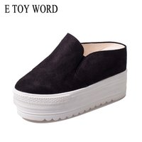 Wholesale dragging toys for sale - E TOY WORD Summer Women Slippers Wedges Platform Shoes Bottom Muffin Round toe High Heeled Half Dragged Female Slippers