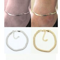 Wholesale leg chains - fashion metal flat snake chain anklet bracelet on the leg for women beach ankle bracelet foot chain jewelry