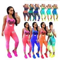 Wholesale Leggings Gradient - Pink Letter Tracksuit Sleeveless Scoop Neck Tank Cropped leggings Gradient Color Block Set Short Pants Women Fitness Suits Sports Gym Vest