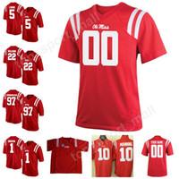 ingrosso numeri marroni-Youth Men Ole Miss Rebels 97 Gary Wunderlich Jersey Colore rosso 1 AJ Brown 22 Wilkins 5 DaMarkus Lodge College Football Personalizzato Qualsiasi numero Nome
