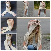 Wholesale White Crochet Scarf - Winter Hats Baby Kids Warm Crochet Knitted Caps Hood Scarves Beanies Unicorn Top Quality Cap 2 Colors DHL Free Shipping