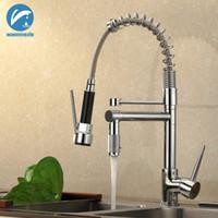 wasserhahn ziehen großhandel-Herausziehen Spray Kitchen Sink Tap Chrom Frühling Ein Loch Mischbatterie Messing Schwenkauslauf Heißes und Kaltes Wasser