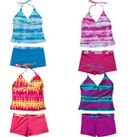 Wholesale teens suits - Teen girls seperated tankini backless bathing duit 6-16T swimsuit two pieces tankini swimwear swimsuit bathing suit