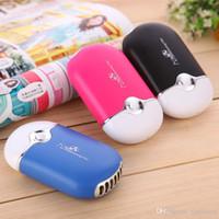 sis püskürtme elektrikli fan toptan satış-Şarj edilebilir Taşınabilir Esnek Mini El Tutun Sprey Mist USB Seyahat Seyahat için Elektrikli Fan Hava Soğutma Fanları