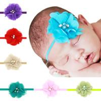 Wholesale Elastic Ribbon Belts - 10pcs NEW Pretty Lace Headband Chiffon Flower Fashion Newborn hand sewn fine belt Elastic Hair Band hair accessories H044