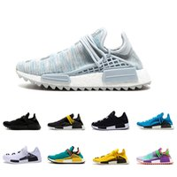 Wholesale pale blue - BBC Human Race sneaker Cream Core Black nerd white Equality holi Hu trail nobel ink Pale nude trainer Men Women Sports Running Shoes
