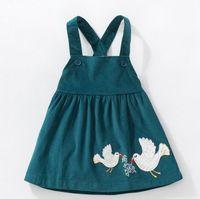 Wholesale corduroy dress girls - girls clothing fall New girl dress corduroy cartoon Birds hedgehog print dress girl's elegant dress 100% cotton kids clothing
