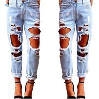 kadınlar için yırtık pantolon toptan satış-Sonbahar Yırtık Kot Kadın Rahat Yıkanmış Delikler Erkek Arkadaşı Kot Kadınlar için Düzenli Uzun Yırtık Kot Vahşi Denim Polyester Pantolon