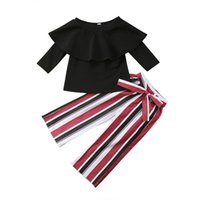 ingrosso nero dalle spalle-Moda Kid Girls Off spalla Top + nero rosso bianco a strisce Bellbottoms 2pcs set Oufit Bowknot bambini Neonate Abbigliamento Toddler Costume