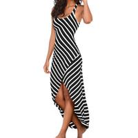 ingrosso abito nero del pendolo-Moda mujer 2019 donna senza maniche bianco e nero strisce irregolare pendolo abito lungo casual vestito estivo spiaggia allentata