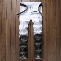 мужские брюки новые поступления оптовых-Zipper  Denim Jean Fashion Designer Pants 2018 new arrival Jeans for men Straight Ripped Jeans Black White Jean Male Trousers