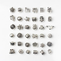 Wholesale diy cone beads for sale - Group buy 36PCS Mixed Style Alloy Beads Charms For Pandora DIY Jewelry European Bracelets Bangles Women Girls Best Gifts