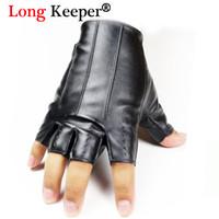 мужские кожаные перчатки оптовых-Long Keeper Male Cool Leather Gloves Fashion Men Fingerless Glove for Dance Party HalF Finger Sport Fitness Luvas Free Shipping
