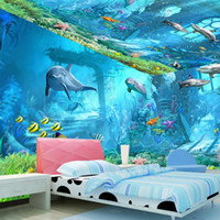 murales de pared bajo el agua para al por mayor-Underwater World Mural 3d Wallpaper Televisión Kid Niños Habitación Dormitorio Ocean Cartoon Background Sticker de pared Nonwoven Fabric 22dya bb
