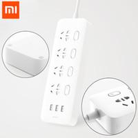 штепсельная вилка xiaomi оптовых-100% Xiaomi Socket Mijia Разъемы для удлинителей 4 Индивидуальное управление 3 USB 5 В 2.1A Быстрая зарядка Удлинители с защитной дверью 100%