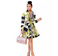 jupe costumes femmes bureau dames achat en gros de-Bureaux dames jupe costume de haute qualité à manches longues fleur chaîne top blouse imprimée et une ligne jupe costume femmes Eglegant vêtements ensemble