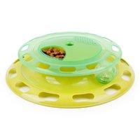 fliegen spielzeug katzen großhandel-Flying Discs Katzenspielzeug Musikspiel kann gedreht werden Disc Spielzeug für Katzen Kunststoff Stoff beste Geschenk für Ihre kleinen Haustiere Hund Katze Spielzeug