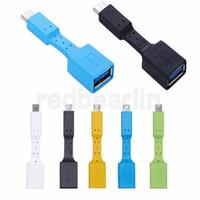 ingrosso cavo bianco otg-Alta qualità Micro USB / Tipo C Maschio a USB 3.0 Convertitore di trasferimento dati femmina Cavo adattatore OTG Nero / Blu / Verde / Bianco / Giallo