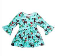 kinder blaues langes kleid 6t großhandel-Weihnachtskleid Niedliches Kleinkind-Baby-Blau-Rotwild-Rock Printe Kleid Long-Sleeves Rock-Ausstattungen für 1-7T Kinder