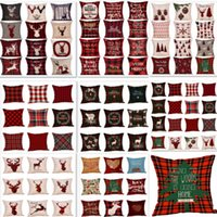 Wholesale linen stripe throw pillows resale online - Christmas Stripe Throw Pillow Case Cover Style Plaid Linen Sofa Pillow Case Cushion Cover Xmas Gift Home Decor DHL HH7