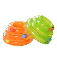 Wholesale play tracks - Tower of tracks ball cat toy track interactive cat roller toy super fun 3 level tower ball track toy endless interactive play