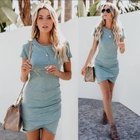 Wholesale womens work out shorts - Womens Work Casual Plain Ruched dresses 2018 DHL Summer Bodycon Dress Casual Short Sleeve Work Party Pencil Ruched Mini T Shirt Dresses